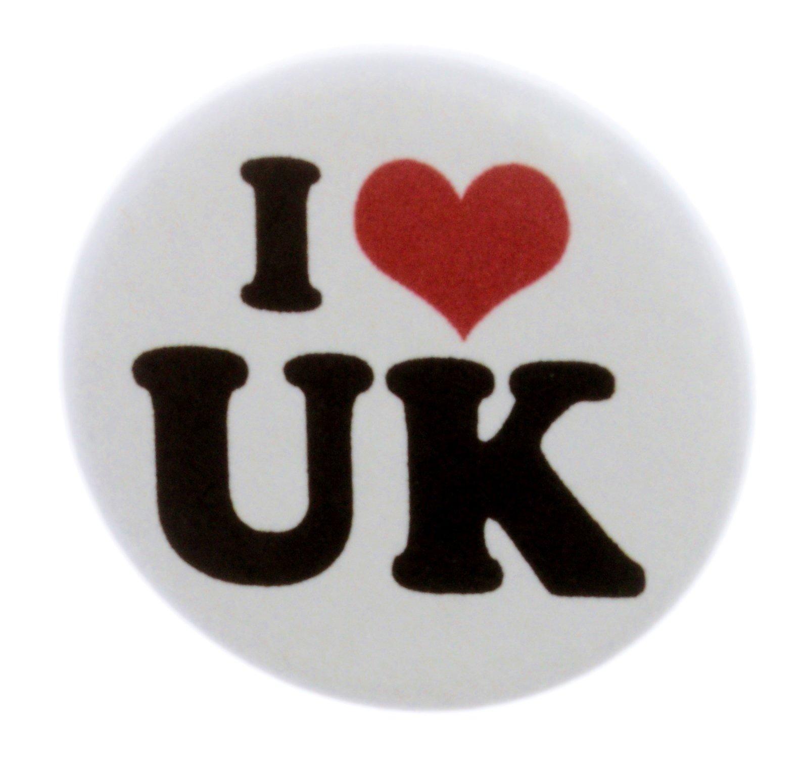 A&T Designs QTY 200 I Love UK 1.25'' Pinback Buttons Pins (heart) United Kingdom