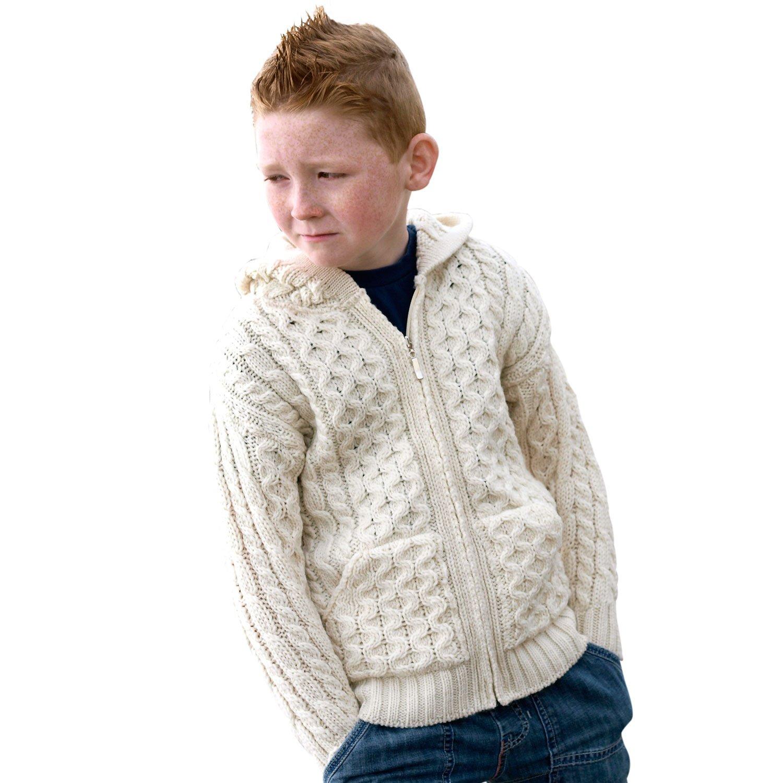 100% Irish Merino Wool Ecru Natural Hooded Zip Sweater 8-11 yrs by Siopa