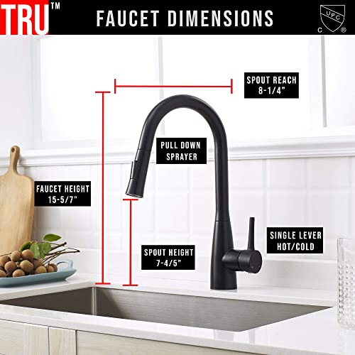 TRUSTAINLESS Premium 100 Stainless Steel Pull Down Kitchen Faucet Single Handle Dual Function Sprayer Matte Black Finish