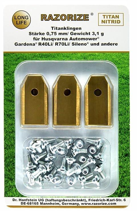 RAZORIZE® 30x Cuchillas de repuesto de titanio (TiN) para robots cortacéspedes Gardena y Husqvarna Automower. Versión robusta con tornillos (3,1 ...