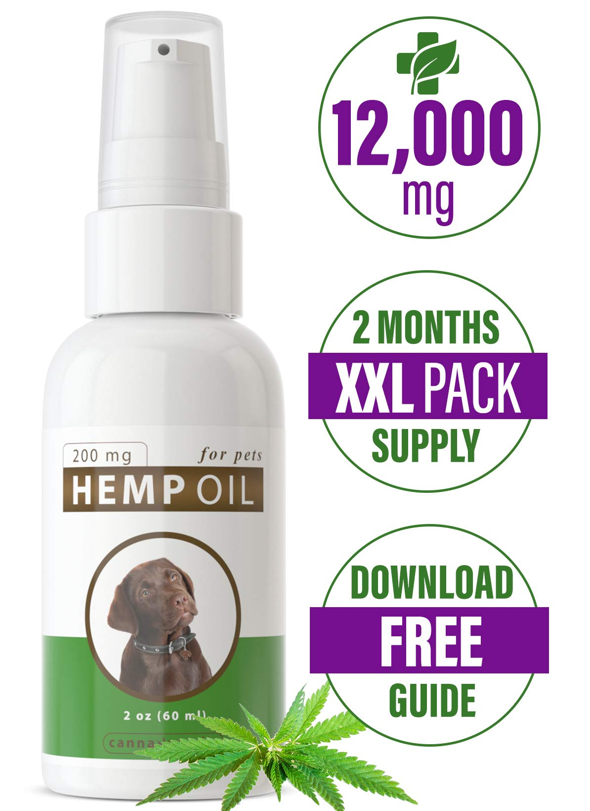 Canna Medis Premium Hemp Oil for Dogs with Cancer, Anxiety, Arthritis, Pain, Seizures, Inflammation. 2 oz, Concentrated Cannabis Extract, 200 mg Per Dose, for Up to 2 Months, 100% Pure, Fast Results. by Canna Medis