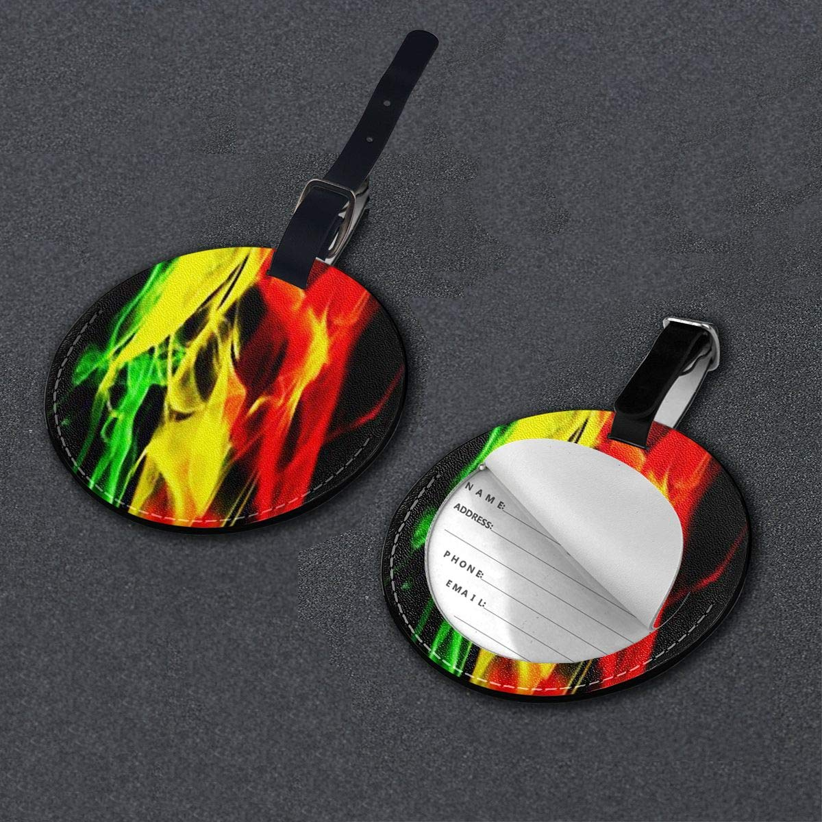 Free-2 Rasta Colored Smoke Luggage Tag 3D Print Leather Travel Bag ID Card