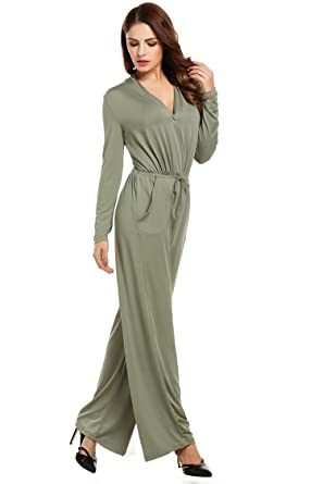 wide selection of colours and designs 50% price attractive colour Amazon.com: Women Black Jumpsuit Long Sleeve Wide Leg ...