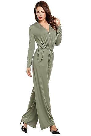 820e4e02010 Amazon.com  Women Black Jumpsuit Long Sleeve Wide Leg Jumpsuit Long  Rompers  Clothing