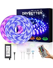 DAYBETTER Led Strip Lights 32.8ft Waterproof Flexible Tape Lights Color Changing 5050 RGB 300 LEDs Light Strips Kit with 44 Keys IR Remote Controller and 12V Power Supply for Home, Bedroom, Kitchen