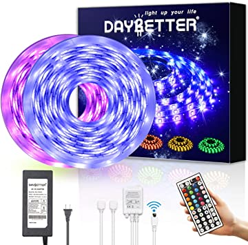 Daybetter Led Strip Lights 32 8ft Waterproof Flexible Tape Lights Color Changing 5050 Rgb 300 Leds Light Strips Kit With 44 Keys Ir Remote Controller