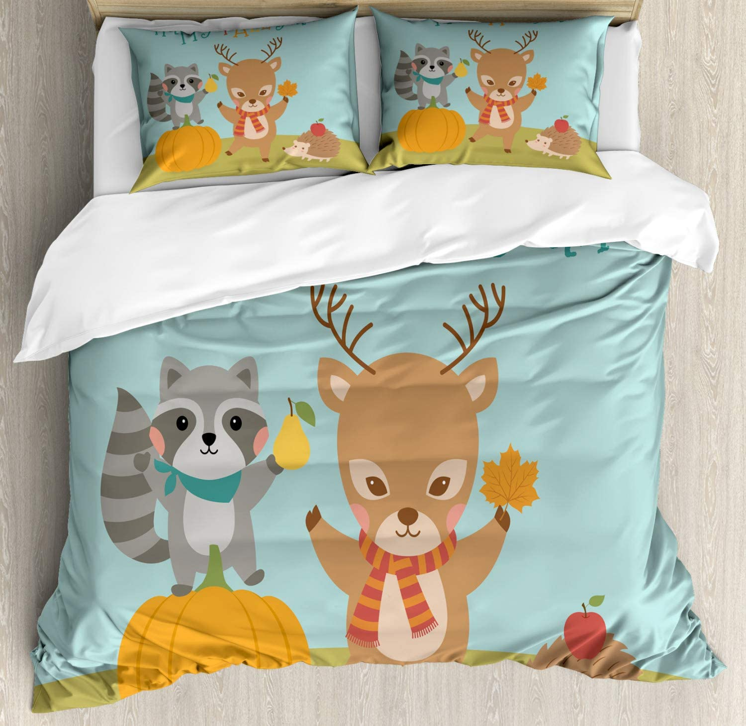 Amazon Com Lunarable Happy Fall Y All Duvet Cover Set Nursery Themed Cartoon With Happy Deer Raccoon And Hedgehog With Scarves Decorative 3 Piece Bedding Set With 2 Pillow Shams King Size Multicolor Home
