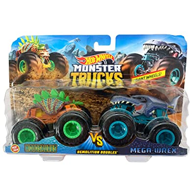 Hot Wheels Monster Trucks Demolition Doubles Motosaurus VS Mega-Wrex (1:64 Scale): Toys & Games