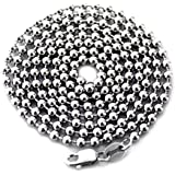 """LONG SOLID STERLING 925 SILVER BALL CHAIN DOG-TAG NECKLACE 28"""" LONG 3MM WIDE ITALY"""