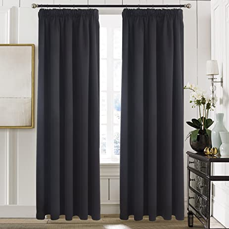 Amazon.com: Aquazolax Bedroom Blackout Curtains Window Treatment ...