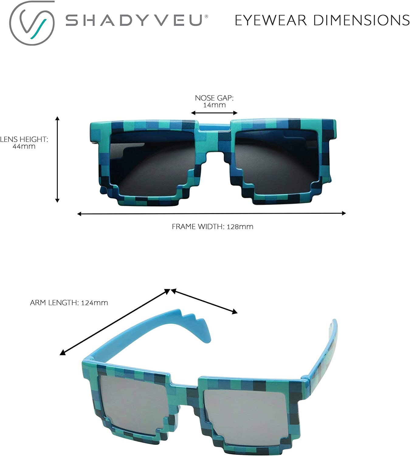 ShadyVEU Colorful Creeper Block Pixel 8-Bit Party Favor Kids Childrens Boy Girl Fun Cute Gamer Sunglasses with UV Protection