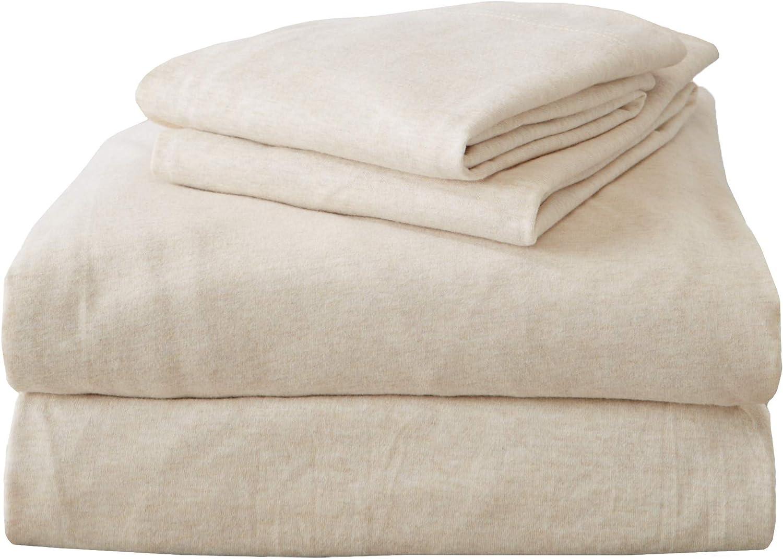 Queen Jersey Knit Sheets. All Season, Soft, Cozy Flannel Jersey T-Shirt Sheet Set. Cotton Blend Jersey Sheets. Cozy Flex Collection (Queen, Oatmeal)