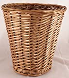 BROWN WICKER WILLOW BASKET BIN STORAGE WASTE PAPER RUBBISH BIN BEDROOM OFFICE