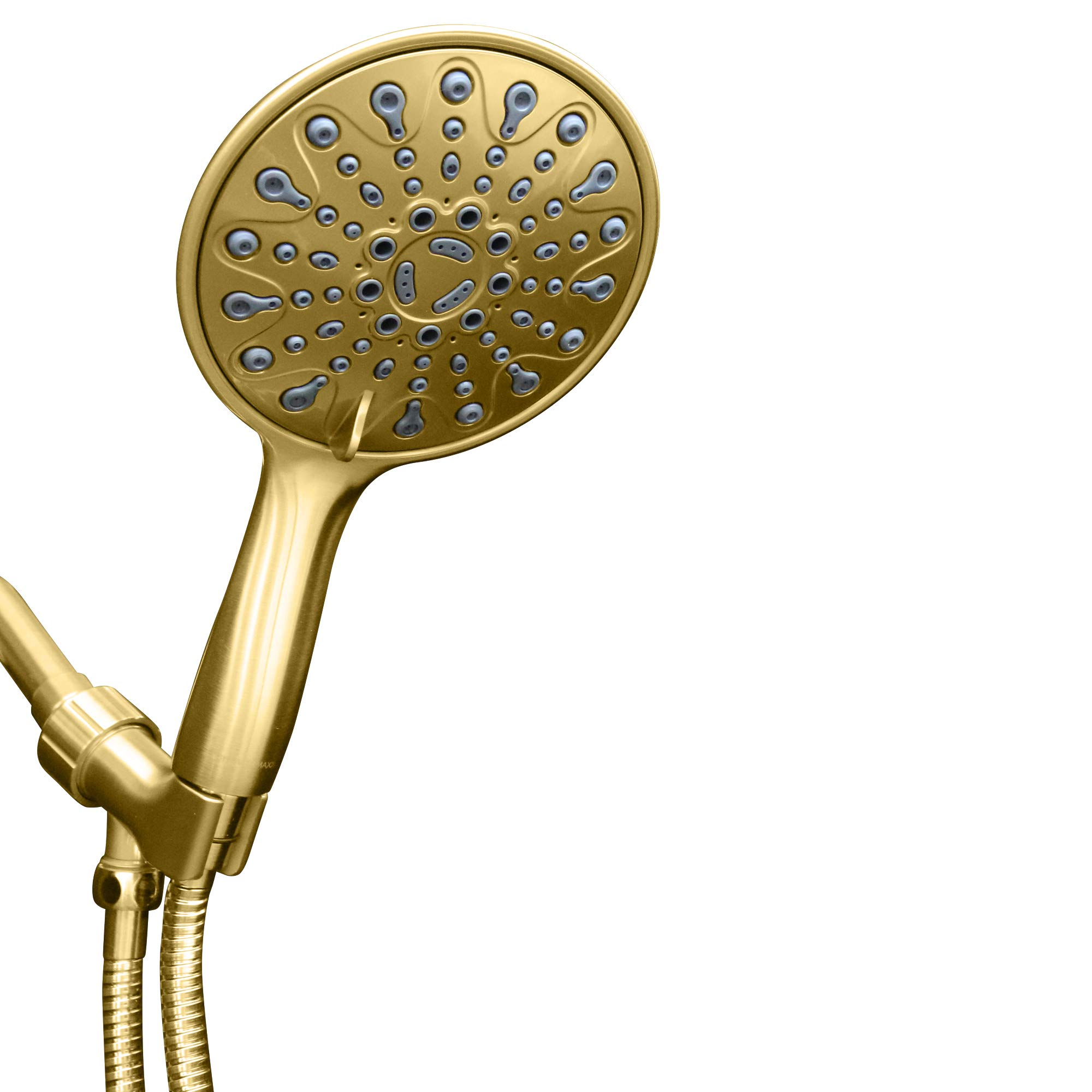 ShowerMaxx | Elite Series | 6 Spray Settings 6 inch Hand Held Rainfall Shower Head | Extra Long Stainless Steel Hose | Easy-to-Remove Flow Restrictor to MAXX-imize Rain | Polished Brass/Gold Finish
