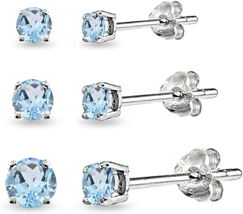 3-Pair Set Sterling Silver Gemstone Round Stud Earrings for Women Teen Girls, 3mm 4mm 5mm