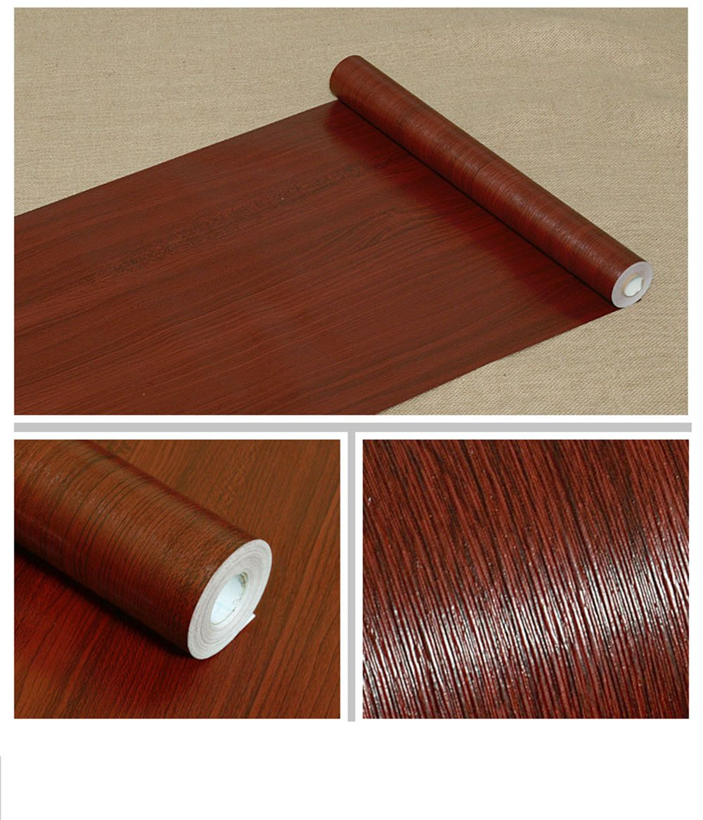 F&U Wood Grain Contact Paper Self Adhesive Shelf Liner Covering for Countertop Kitchen Cabinets Wall Table Door Desk (Mahogany 17.7'' W x 393'' L)