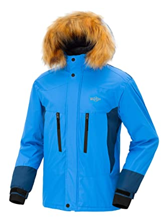 1768544ce8 Wantdo Men s Hooded Mountain Rain Jacket Outdoor Fleece Lined Windproof Ski  Jacket Acid Blue Blue Black