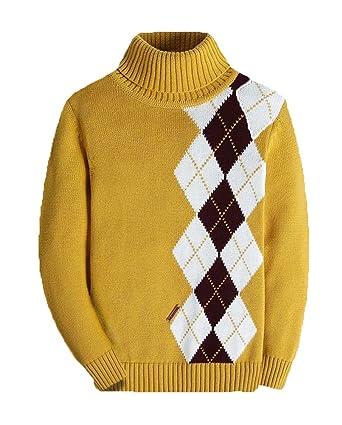 c1bdd1a1d320 Amazon.com  Boys Long Sleeve Sweater Turtleneck Pullover Argyle ...