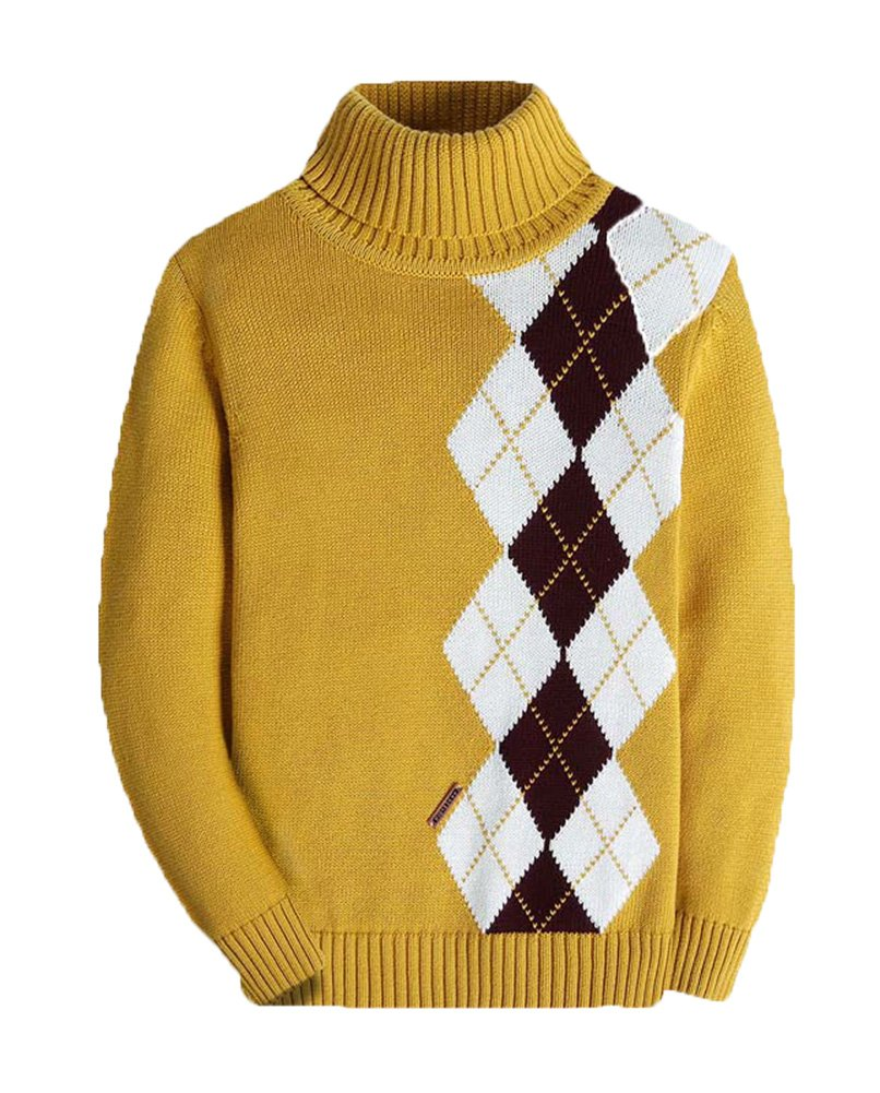 BASADINA Boys Thickened Turtleneck Sweater – Plaid Thick Sweater for Boys 100% Cotton