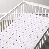 haus & kinder Muslin 100% Cotton Elastic Fitted Crib Cradle Sheet, Hypoallergenic and Soft Breathable Fabric, Unisex (Anchor)