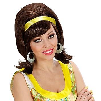 Peluca retro 60 de mujer postizo pelo sintético fiesta chica carnaval hippie accesorios traje