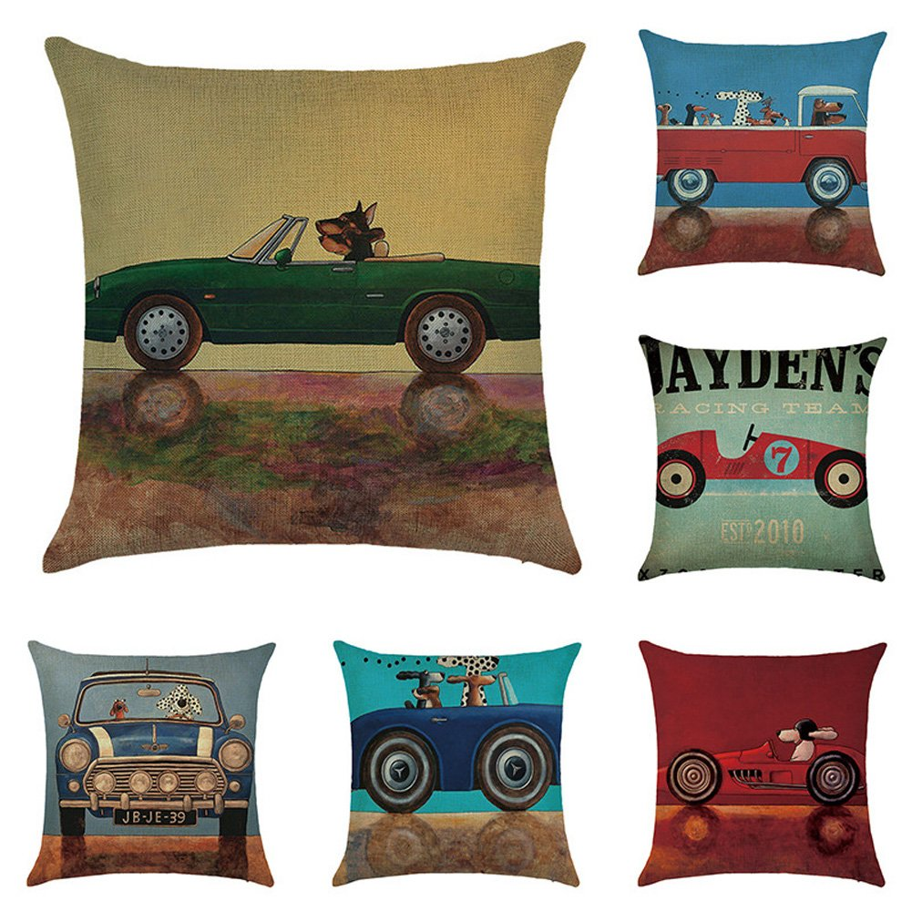 JOTOM Throw Pillow Covers, Cotton Linen Cushion Covers Decorative Pillowcases for Couch Sofa Car,18 x 18 Inches, Set of 6 - Car