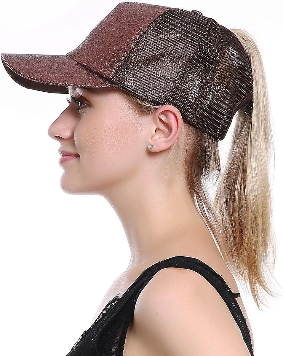 JAKY Global Glitter Ponytail Cap Messy Bun Adjustable Mesh Trucker Baseball Cap Hats Women Girls