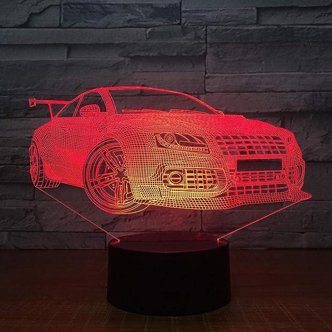 BFMBCHDJ Racing Sport Car 3D Night Light Touch Switch 7 Cambio de ...