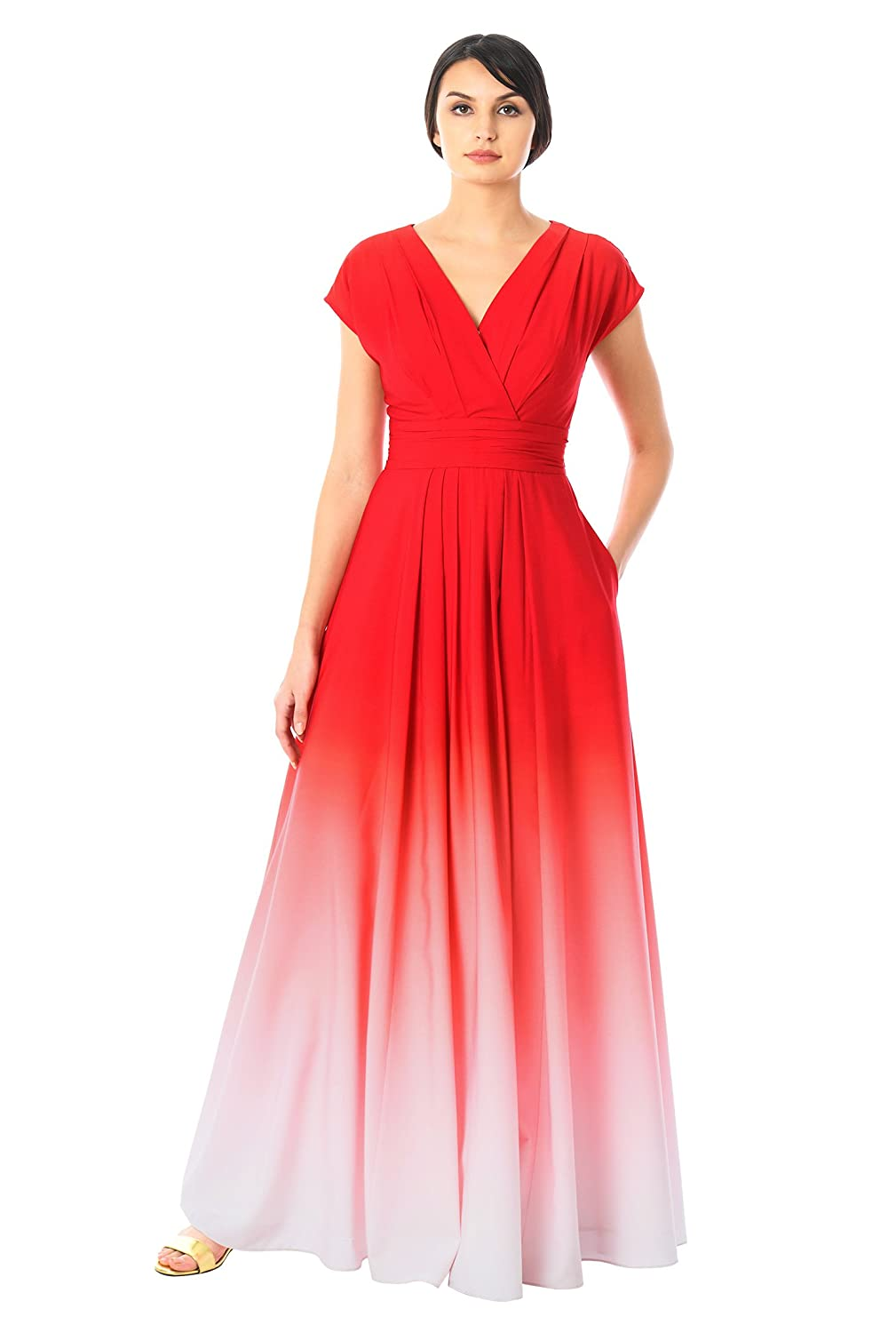 8797f4d1768 eShakti Women s Ombre Print Crepe Surplice Maxi Dress 1X-18W Regular  Red Coral Pink at Amazon Women s Clothing store