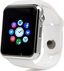 Bluetooth Reloj Inteligente con Cámara, Techfaith Reloj Inteligente para Android Teléfonos Inteligentes, A1 - Blanco