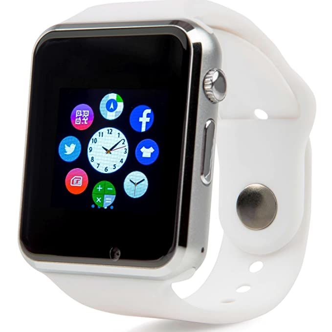 Bluetooth Smart Watch with Camera, TechFaith A1 Smart Watch for Android Smartphones (White)