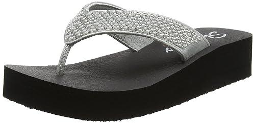 Skechers Vinyasa-Beach League, Sandalias con Tira Vertical para Mujer