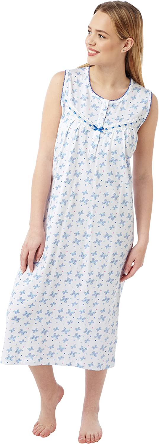 Aqua Sizes 8-10 12-14 16-18 20-22 24-26 Pink Coral or Lilac Ladies Sleeveless 100/% Cotton Jersey Butterfly Print Nightdress