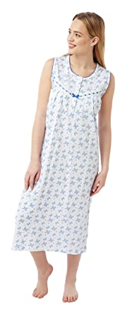 5e6ab3d01d Ladies Sleeveless 100% Cotton Jersey Butterfly Print Nightdress. Pink or  Aqua. Sizes 8