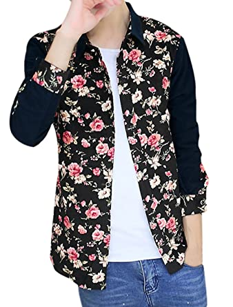 Allegra K Men Floral Print Long Sleeves Color Block Corduroy ...