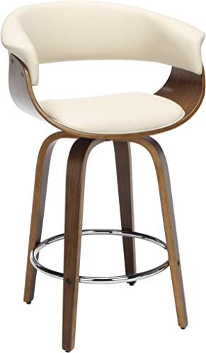 OFM 161 Collection Mid Century Modern 26″ Low Back Bentwood Frame Swivel Seat Stool