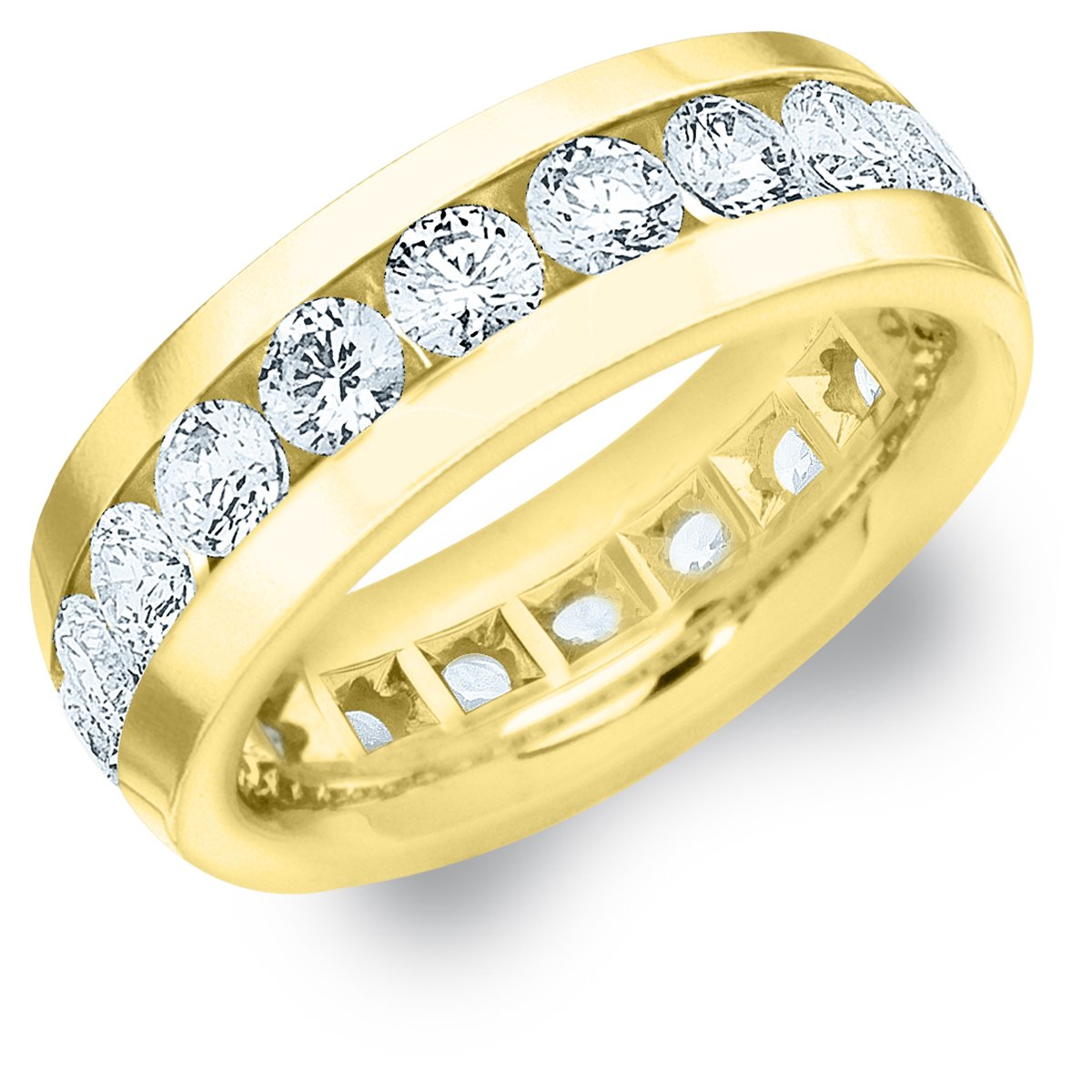 18K Yellow Gold Men's Diamond Eternity Ring (4.0 cttw, F-G Color, VS1-VS2 Clarity) Size 13