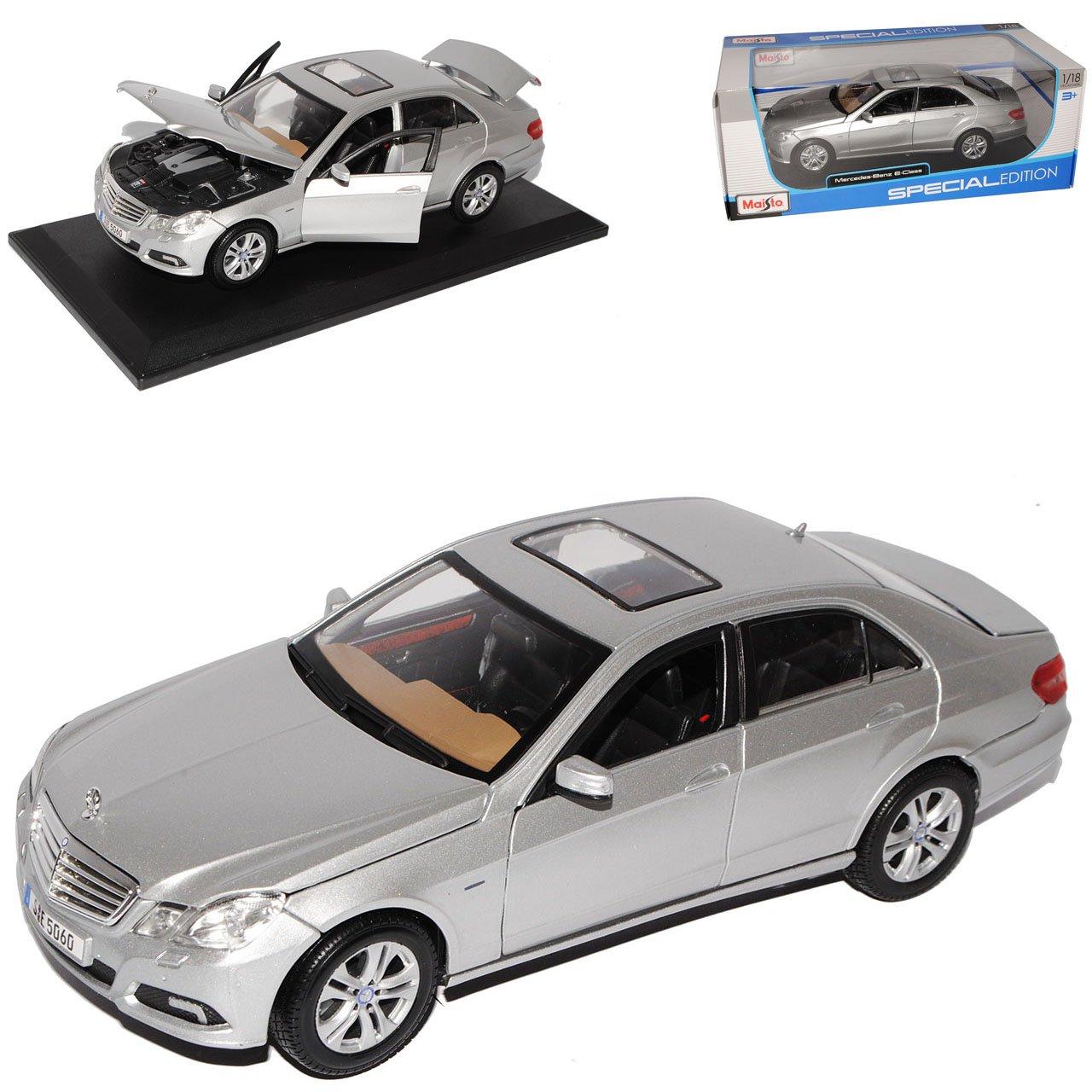 Maisto Mercedes-Benz E-Klasse Limousine Silber W212 Ab 2009 1/18 Modell Auto mit individiuellem Wunschkennzeichen