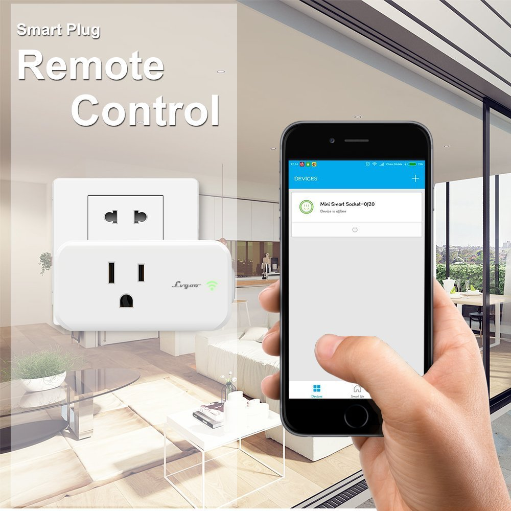 Lvgoo Rectangle WiFi Smart Plug,Works with Amazon Echo Alexa ,MINI Smart Power Socket Outlet,Turn ON/OFF Electronics from Anywhere,For iPhone IOS Android APP by Lvgoo (Image #3)