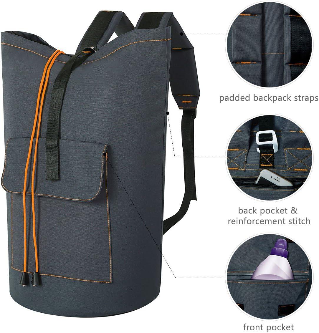 ZERO JET LAG 70L Extra Large Laundry Bag Heavy Duty Backpack with Straps Pockets Hanging Laundry Hamper College Essentials Storage Basket Storage Bag Dorm Home(Dark Grey,XL)