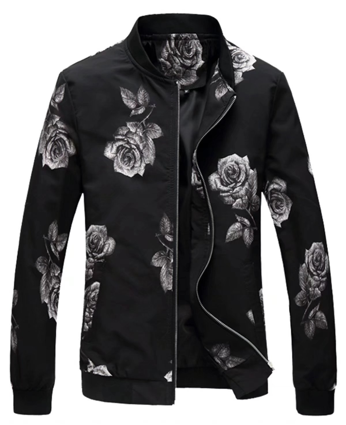 EMAOR Mens Men's Casual Flower Varsity Baseball Bomber Jacket Lightweight Floral Coat
