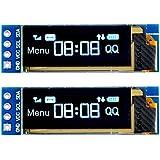 MakerHawk 2pcs I2C OLED Display Module 0.91 Inch I2C SSD1306 OLED Display Module Blue I2C OLED Screen Driver DC 3.3V~5V for Arduino