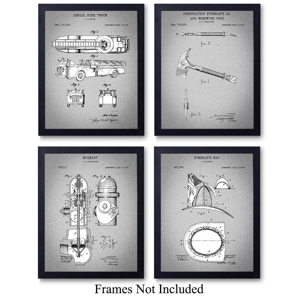 Firefighters Patent Wall Art Prints - Set of Four (8x10) Vintage Unframed Photos - Perfect Gift For Firemen and First Responders, Great For Home Decor - Gray