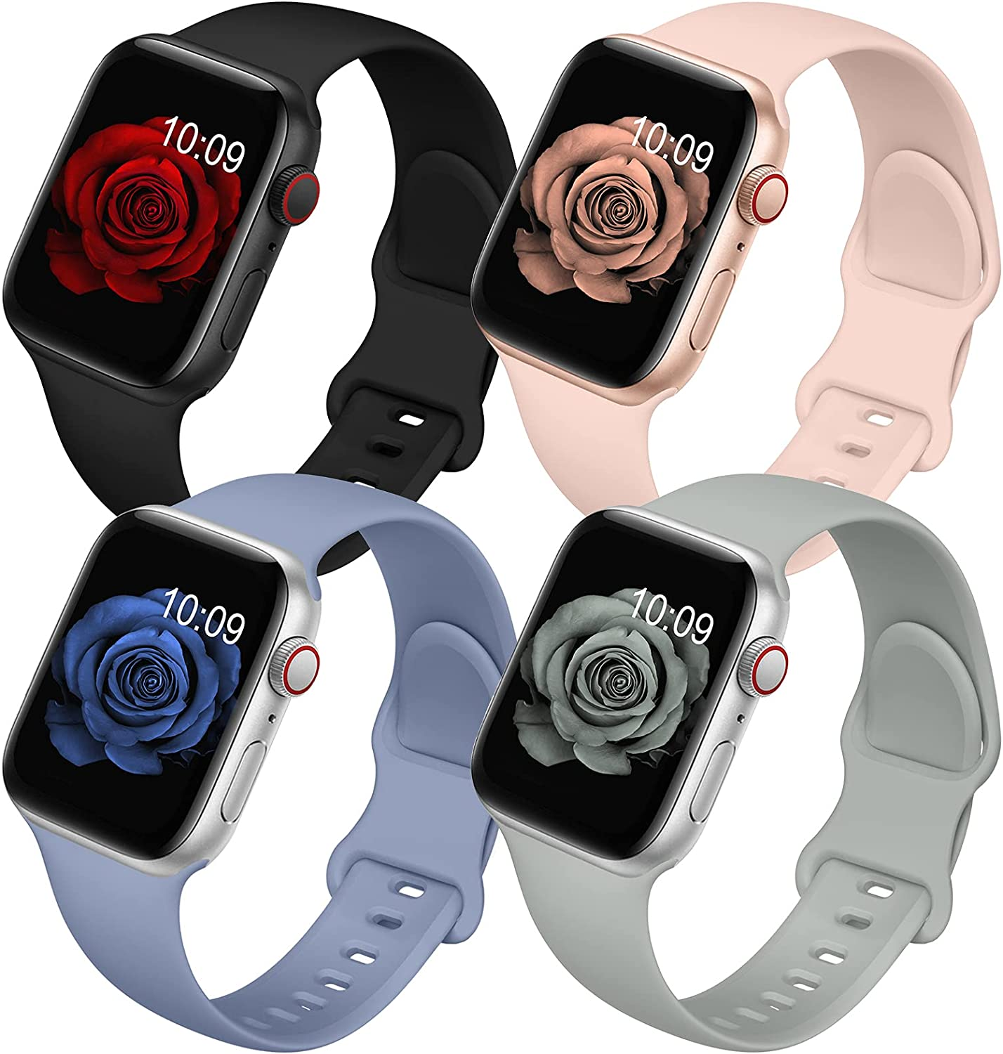 4 Pack Bands Compatible with Apple Watch Band 38mm 40mm 42mm 44mm for Women Men, Soft Silicone Sport Replacement Watch Strap for iwatch Series SE/ 6/5/4/3/2/1 Black/Gray/Lavender Gray/Pink Sand