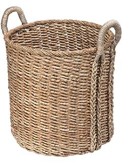 extra large round storage basket in sea grass - Decorative Storage Baskets