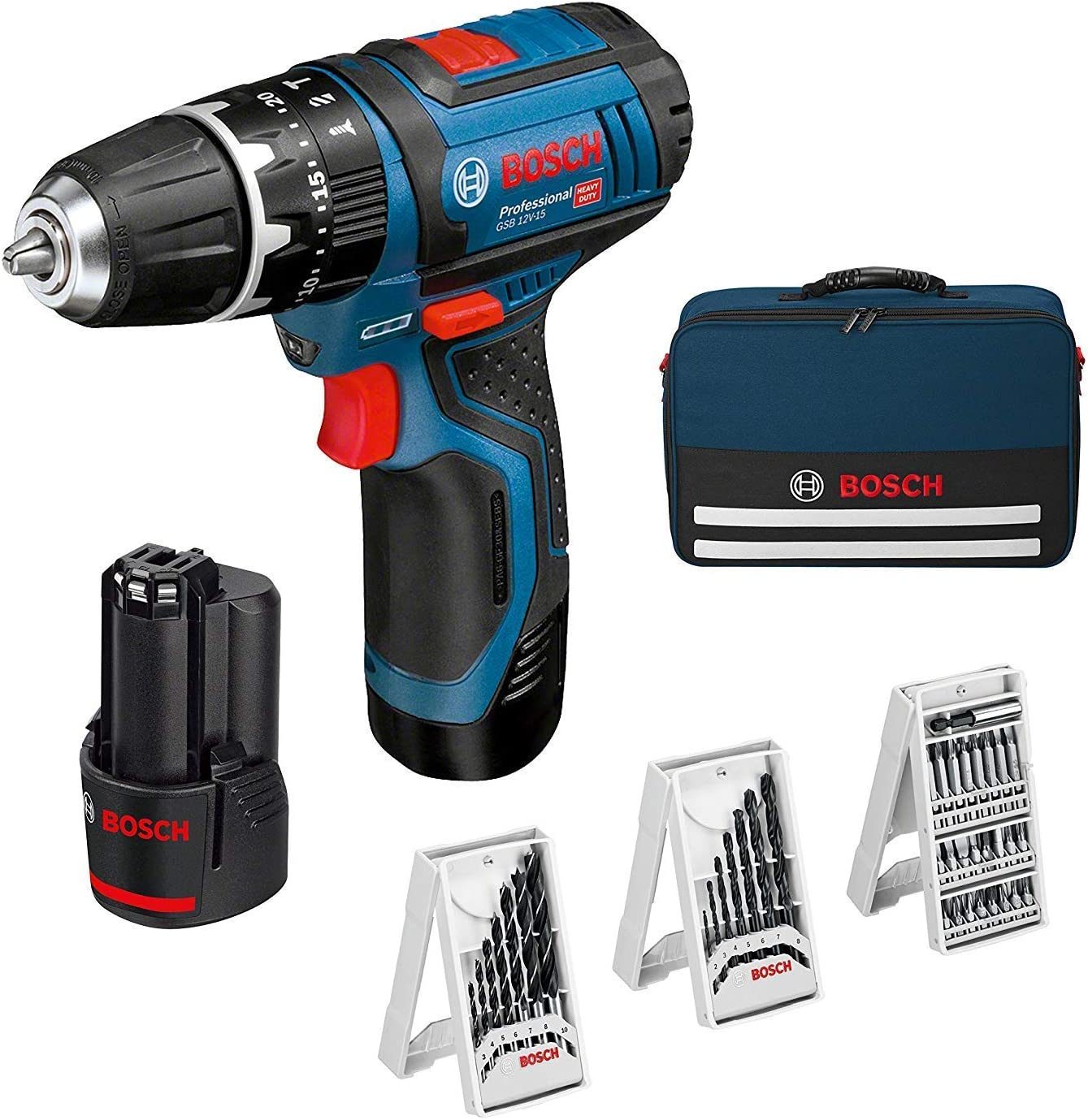 Bosch Professional percutor GSB 12V-15, Madera de diametro 19 mm, Incluso 2x2.0 Ah batería + Cargador, 3X Juego de Taladro, en Bolsa, Amazon Edición, 36 W, 12 V, Azul