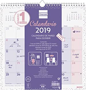 Calendario de pared 2019 español: Amazon.es: Oficina y papelería