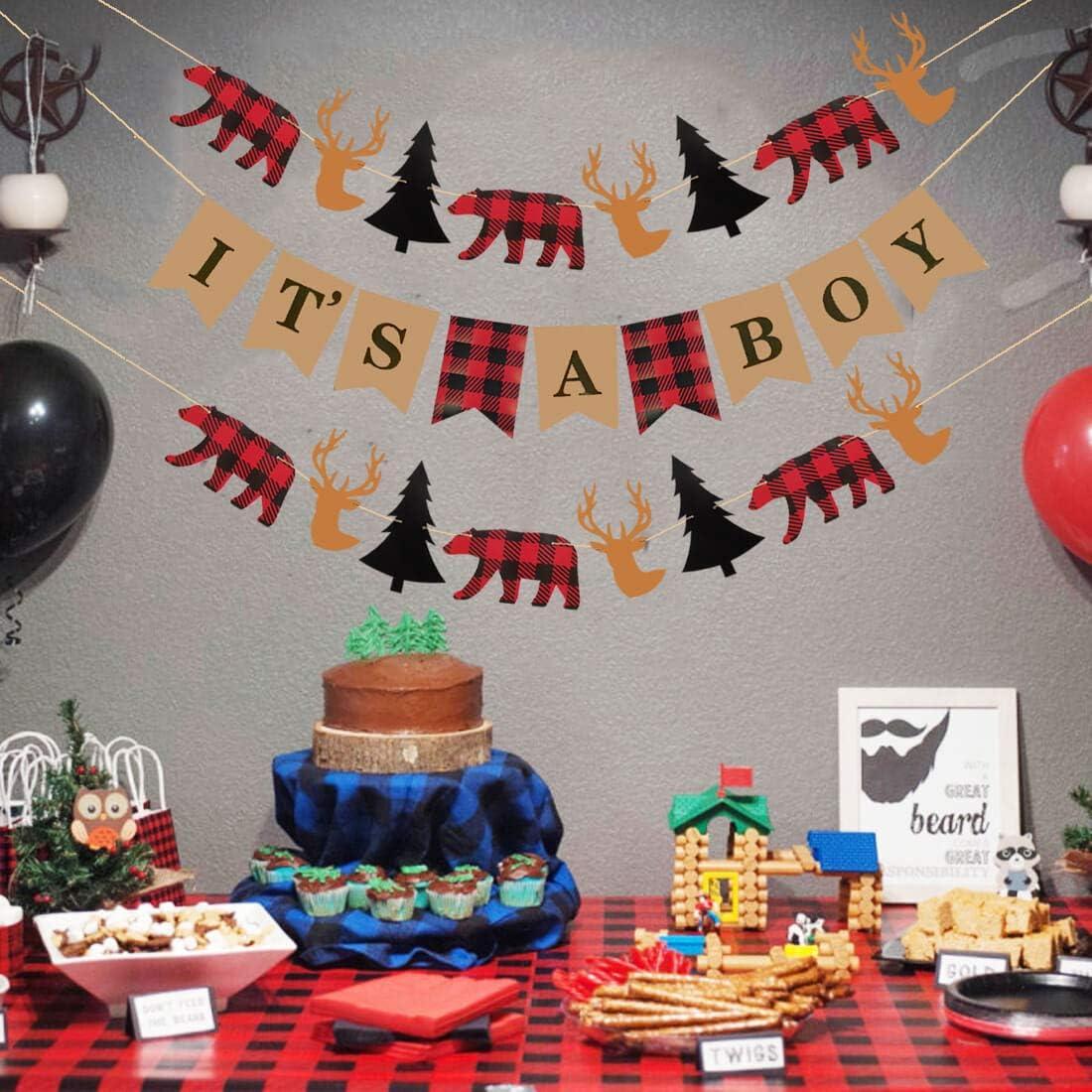 Details about  /Uniwish Buffalo Plaid Banner Lumberjack Theme Baby Shower Birthday Party Decorat