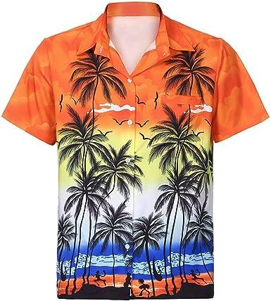 Cebbay Camisa Hawaiana de los Hombres 3D Impreso Bolsillo Moda Delgado Manga Corta Diseño de Palmeras, Playa, Fiesta, Verano y Vacaciones: Amazon.es: Ropa y accesorios