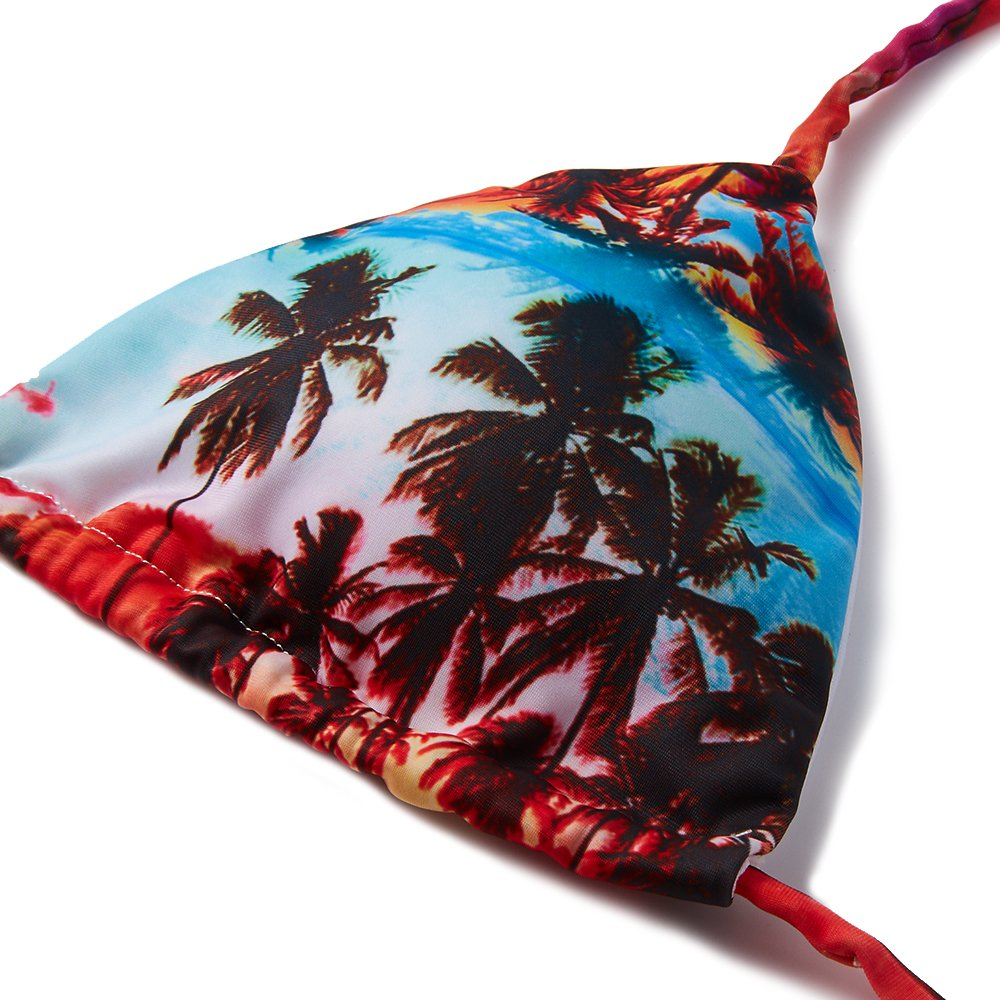 Sexy V-Neck Top Triangle Bottoms Halter 2 Pieces Bikini Set Cheeky Swimsuits Tropical Coconut Tree Palm Red Blue Strappy Swimwear Hot Beachwear Low Rise Bathing Suit for Womens Girls Ladies S